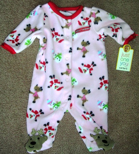 Carter's Just One You Baby 1st Christmas Sleep and Play Girls NB