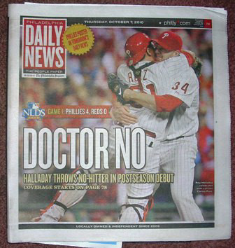 Roy Halladay No Hitter Daily News October 7, 2010