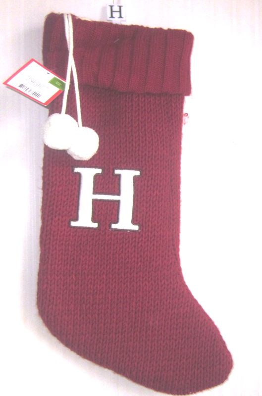 Christmas Stocking Monogram Letter H Red Knit