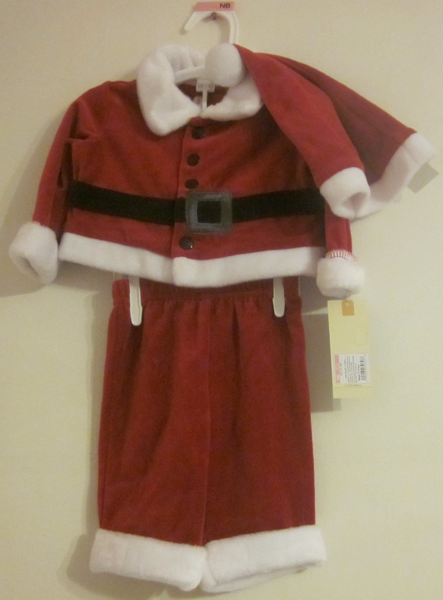 Velvet Santa Suit Outfit 3 Pieces Cherokee 3-6 months - Click Image to Close