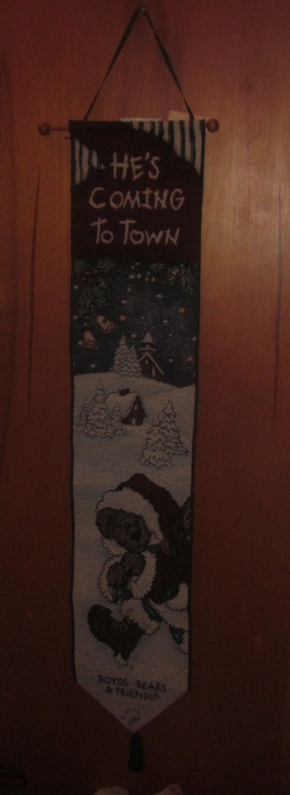 Boyd's Bears He's Coming To Town Christmas Bell Pull Tapestry