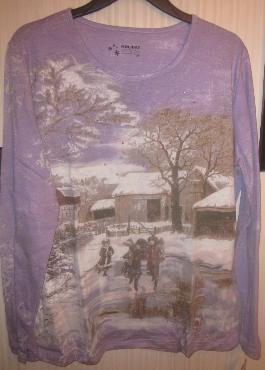 Womens Large Long Sleeve Winter Scene Shirt Top Kids Ice Skating