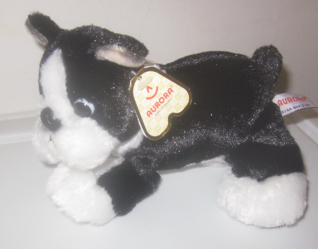 Stuffed Plush Boston Terrier Dog Puppy By Aurora Terrie 30539