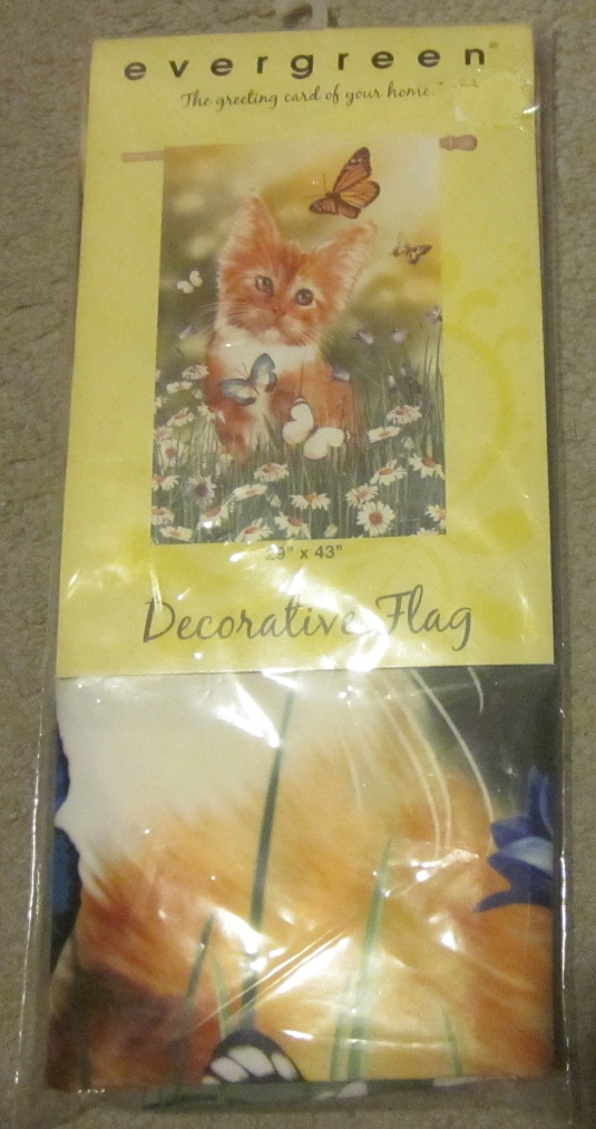 Evergreen Decorative Flag Field Cat Butterflies Wishful Kitten