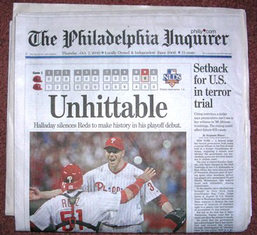 Roy Halladay No Hitter Philadelphia Inquirer October 7, 2010