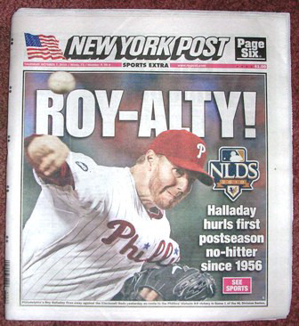 Roy Halladay No Hitter New York Post October 7, 2010