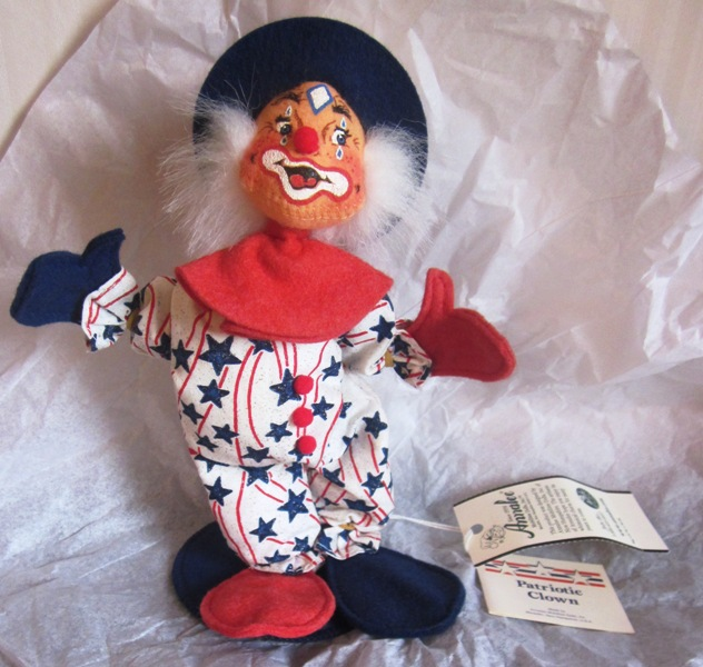 "Annalee 10"" Patriotic Clown Exclusive for Sue Coffee 984601"