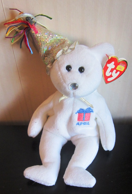 Ty Beanie Babies April White Bear