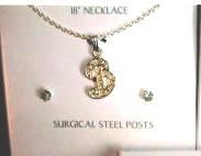 Necklace and Earring Set Crystal Initial Monogram B