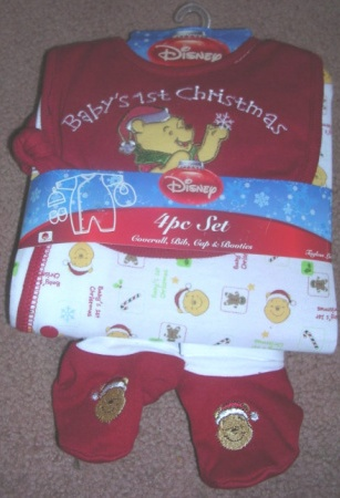 Onepiece Bodysuit Creeper Baby's First Christmas Pooh 0-3 Months