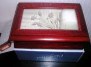 Jewelry Box Etched Glass Lid Cherry Finish