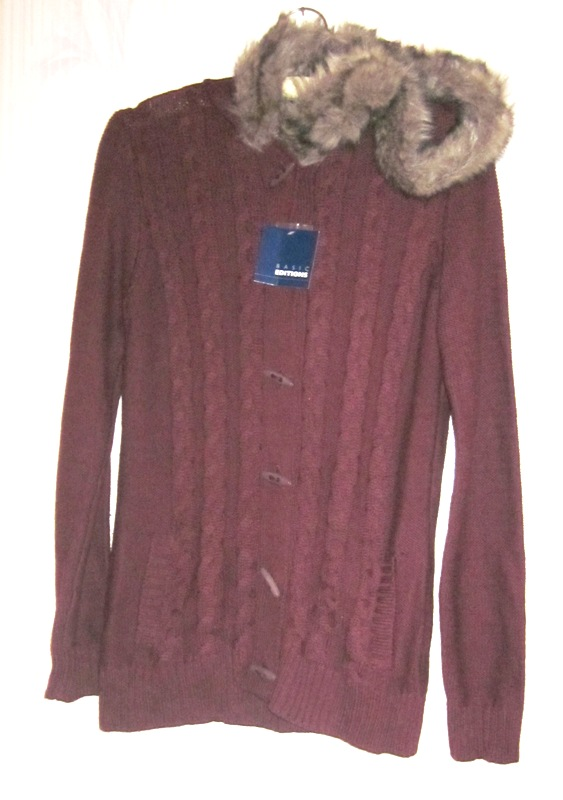 Cardigan Women's Small Basic Editions Faux Fur Trimmed Hood