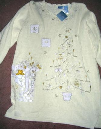 Womens Tunic Ugly Christmas Sweater Cream Off White Large