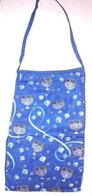 Chanukah Blue Apron with Pocket Driedels and Menorah