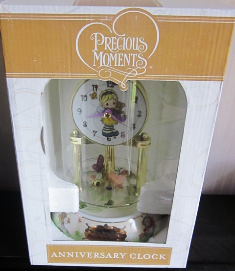 Porcelian Anniversary Clock Precious Moments Bees Butterflies