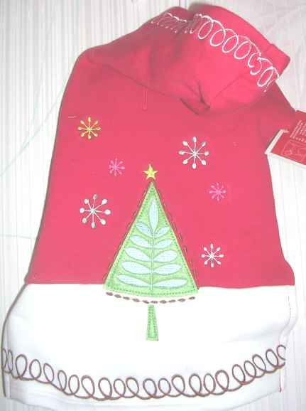 Dog Pet Christmas Holiday Coat Red Tree Small
