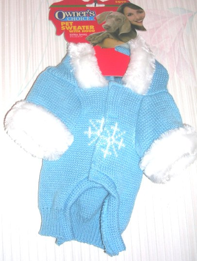 Pet Sweater with Hood XSmall Blue