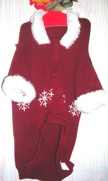 Pet Dog Sweater with Hood Medium Red
