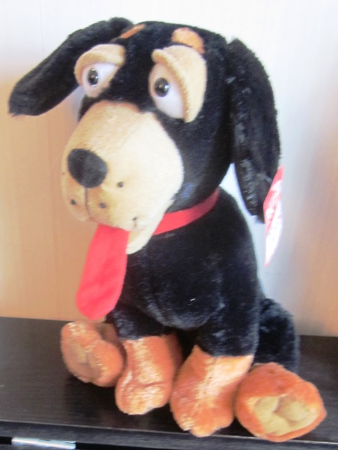 Black Dog Tongue hanging out Peek A Boo Toys