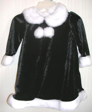 Christmas Holiday Dress Black Velour 3T
