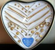 Jewelry Set Earrings and Bracelet Set Heart Tin