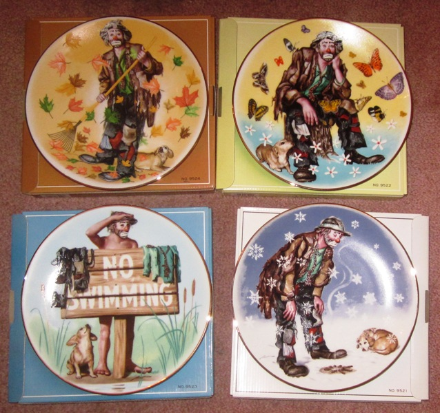 Emmett Kelly Four Seasons Plates Set