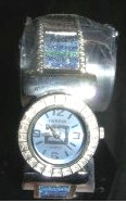 Womens Watch Geneva Cuff Watch Blue and Pink