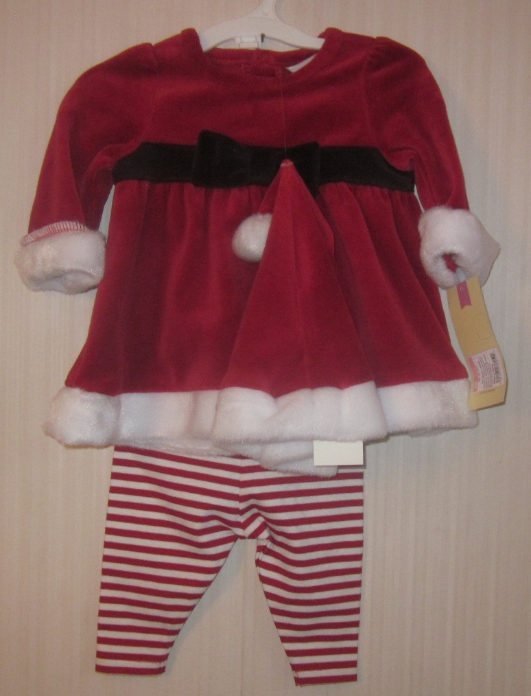 Girl Santa Outfit with hat 6-9 months
