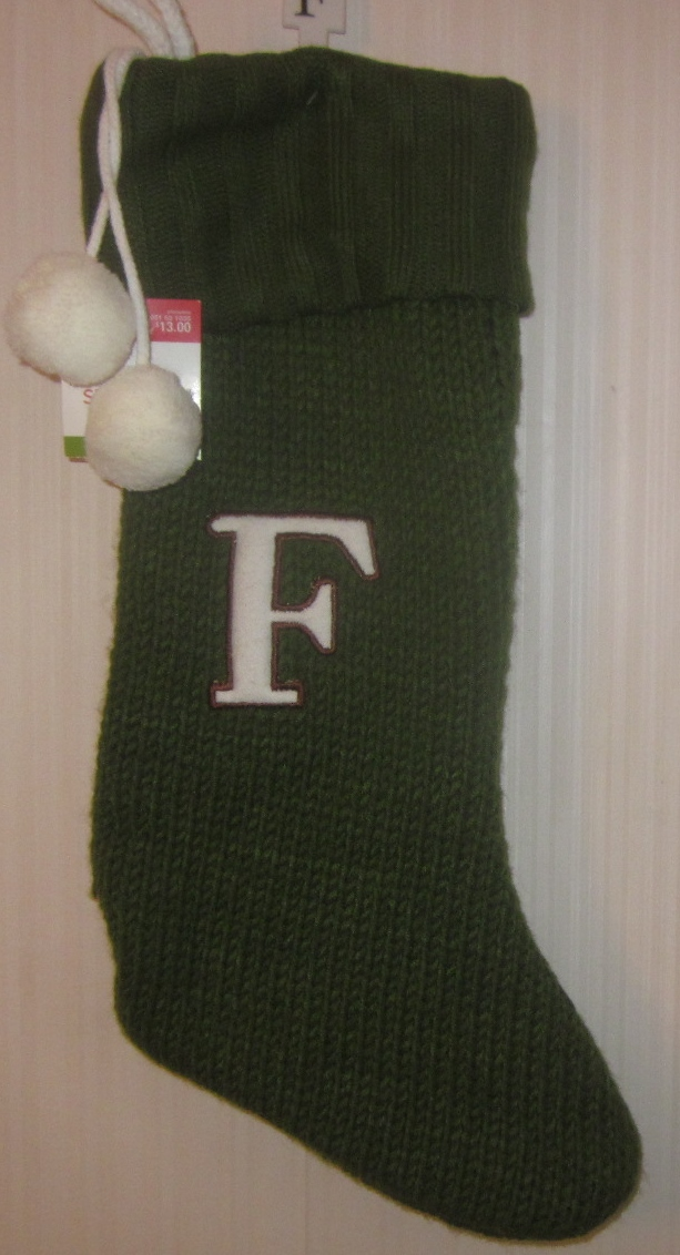Christmas Stocking Monogram Letter F Green Knit