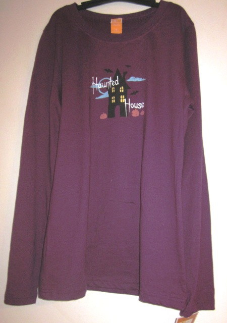Purple Halloween Long Sleeve T Shirt Haunted House 2X