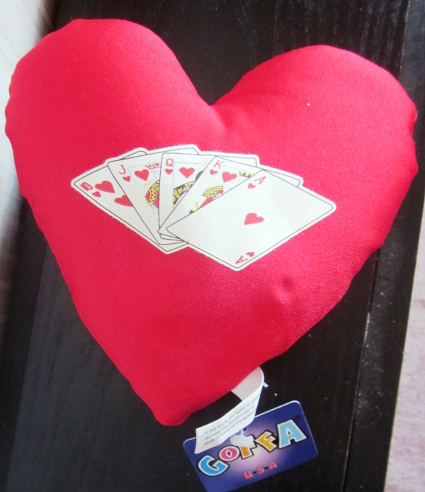 Poker Royal Flush Heart Shaped Pillow by Goffa