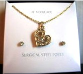 Heart Necklace and Stud Earring Set Jewelry Set