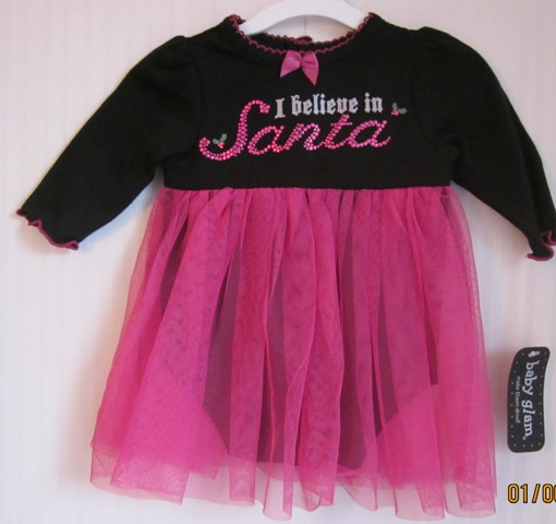 Baby Glam Believe In Santa Skirted Creeper Tulle Skirt NB