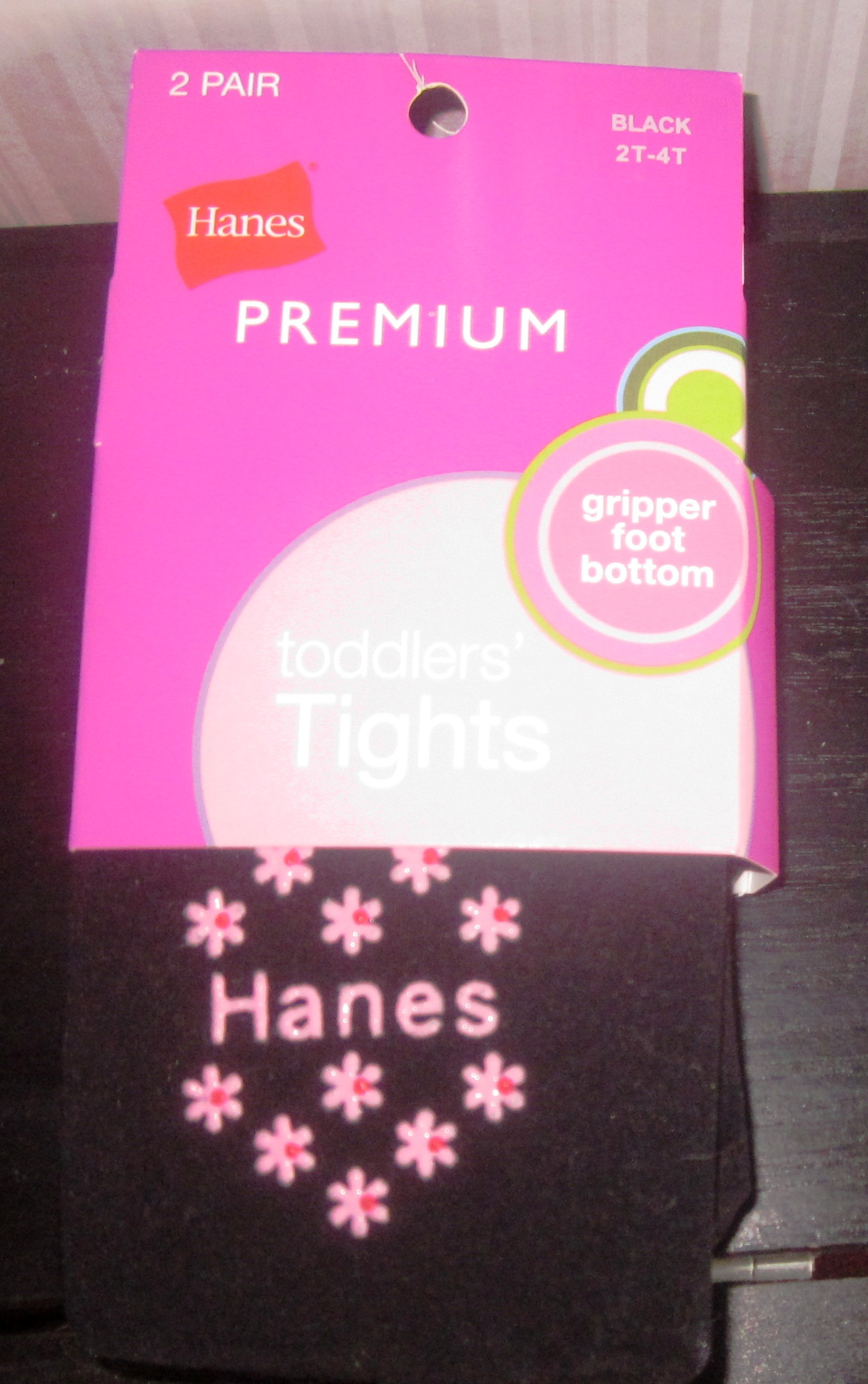 Hanes Infant Tights Black 9-18 Grip Foot