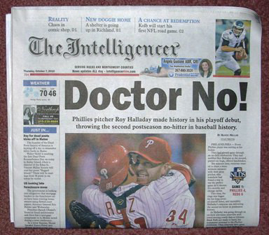 Roy Halladay No Hitter The Intelligencer October 7, 2010
