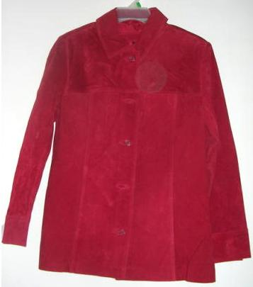 Womens Suede Leather Jacket Red Jaclyn Smith Small