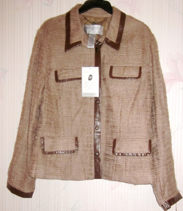 Jaclyn Smith Collection Brown Tan Jacket Large