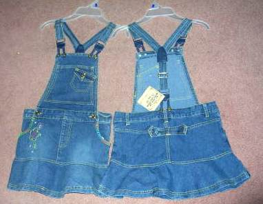 Denim Jean Suspender Overalls Dress Route 66 Size 4/5