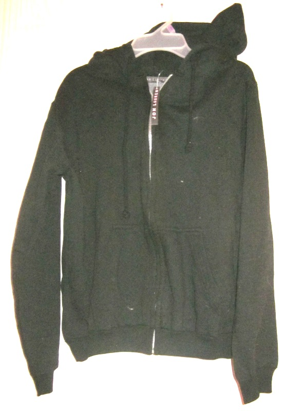 Jon Lauren Black Hoodie Zipper Sweatshirt Large