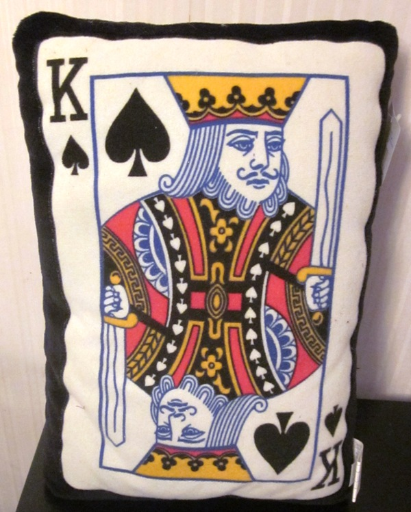 Playing Card K of Spades Pillow by Goffa