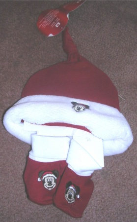 Mickey Mouse Christmas Cap and Booties Set 0 - 6 Months