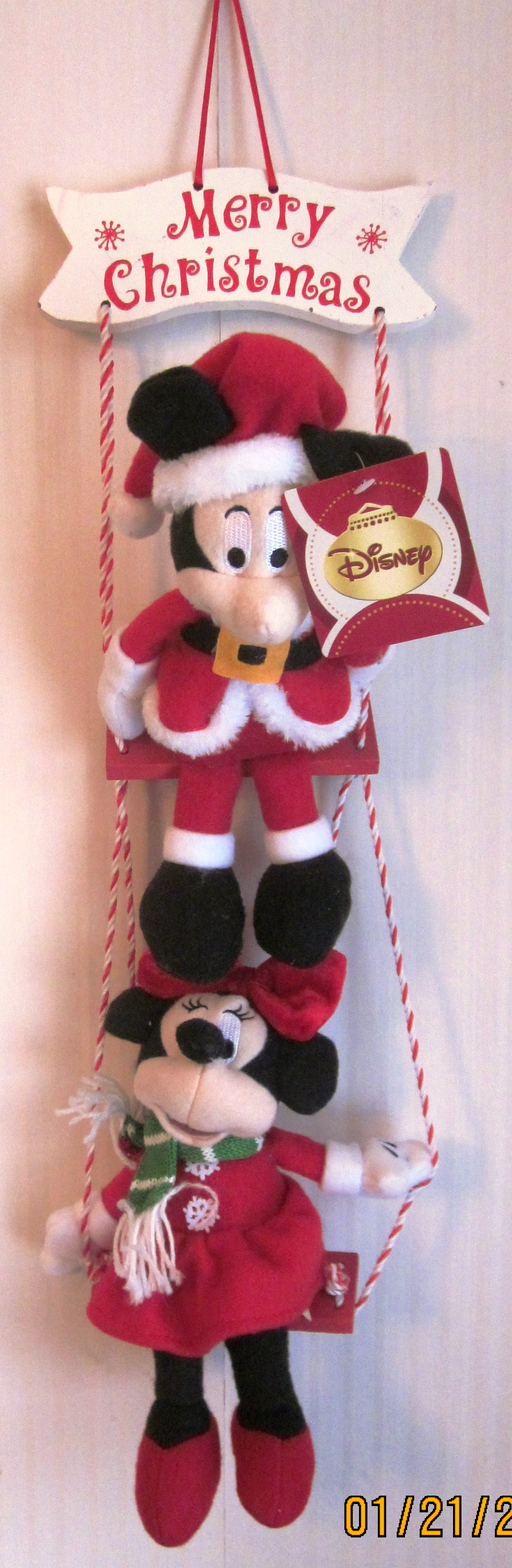 Disney Christmas Swing Mickey and Minnie Merry Christmas Sign
