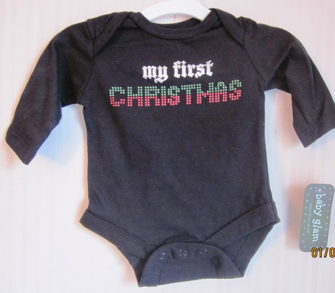 My First Christmas Creeper Long Sleeve Onepiece Baby Glam NB