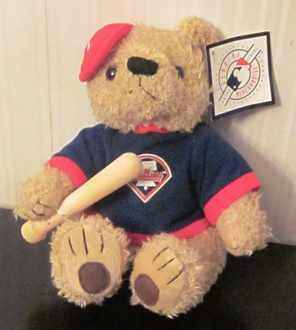 Philadelphia Phillies Batting Bear with Bat Plush Stuffed 7""