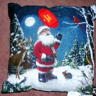 Christmas Tapestry Throw Pillow Santa - Click Image to Close