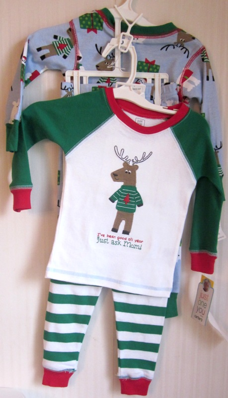 Carter's Just One You Pajamas Pjs Reindeer 12M 2 pair
