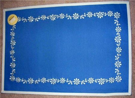 Martha Stewart Cotton Placemats Blue Embroidered