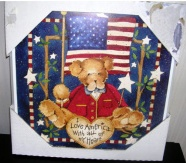 Fourth 4th of July Patriotic Wall Hanging Plaque Wooden