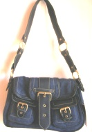 Purse Pocketbook Handbag Double Pocket Faux Suede Blue