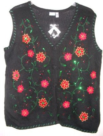 Ugly Tacky Christmas Sweater Vest Womens Plus 1X Poinsetta